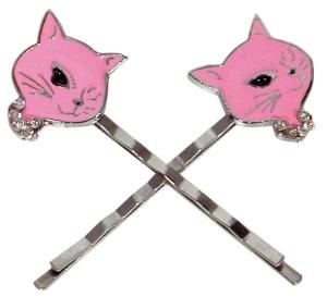 Haarnadel Haarklammer Kitty rosa Haarschmuck Haarspange 2er-Set Rockabilly Cat, trendiges Accessoires Modeschmuck