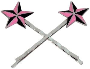 Haarnadel Haarklammer Nautic Star rosa Haarschmuck Haarspange 2er-Set Rockabilly, Stern rosa-schwarz, trendiges Accessoires Modeschmuck