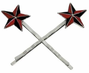 Haarnadel Haarklammer Nautic Star rot Haarschmuck Haarspange 2er-Set Rockabilly, Stern rot-schwarz, trendiges Accessoires Modeschmuck