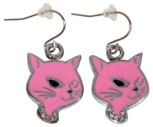 Ohrringe Ohrhänger Kitty rosa Ohrschmuck Rockabilly Cat, Accessoires Modeschmuck