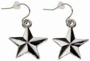 Ohrringe Ohrhänger Nautic Star weiß-schwarz, Ohrschmuck Rockabilly, Accessoires Modeschmuck