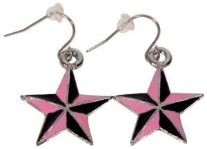 Ohrringe Ohrhänger Nautic Star rosa-schwarz, Ohrschmuck Rockabilly, Accessoires Modeschmuck