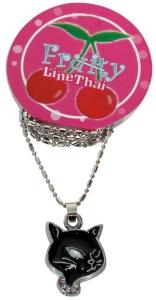 Halskette Kitty schwarz Kette Rockabilly Cat, Accessoires Modeschmuck