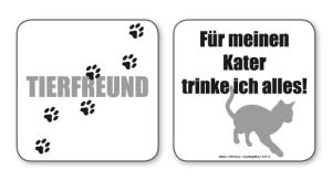 witzige Bierdeckel mit Spruch: Tierfreund ... 8 Stück, Untersetzer aus Vollpappe bedruckt mit Fun - Spruch