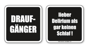 witzige Bierdeckel mit Spruch: Draufgänger ... 8 Stück, Untersetzer aus Vollpappe bedruckt mit Fun - Spruch