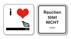 witzige Bierdeckel mit Spruch: Rauchen tötet nicht ... 8 Stück, Untersetzer aus Vollpappe bedruckt mit Fun - Spruch