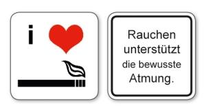 witzige Bierdeckel mit Spruch: Rauchen unterstützt die bewusste Atmung ... 8 Stück, Untersetzer aus Vollpappe bedruckt mit Fun - Spruch