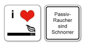 witzige Bierdeckel mit Spruch:Passivraucher sind Schnorrer ... 8 Stück, Untersetzer aus Vollpappe bedruckt mit Fun - Spruch