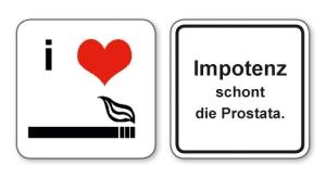 witzige Bierdeckel mit Spruch: Impotenz schont die Prostata, 8 Stück, Untersetzer aus Vollpappe bedruckt mit Fun - Spruch