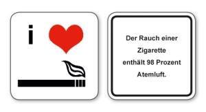 witzige Bierdeckel mit Spruch: 98 Prozent Atemluft, 8 Stück, Untersetzer aus Vollpappe bedruckt mit Fun - Spruch