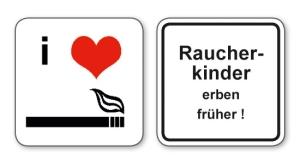 witzige Bierdeckel mit Spruch: Raucherkinder erben früher! 8 Stück, Untersetzer aus Vollpappe bedruckt mit Fun - Spruch