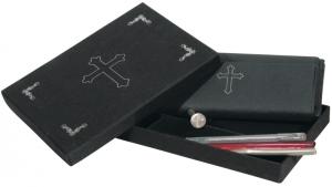Siegel - Schreibset Kreuz, je 25-teilig mit Briefumschläge, Briefpaper, Siegel