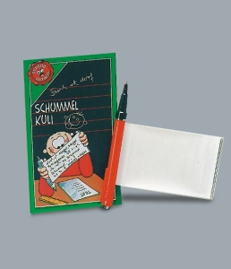 Schummel-Kuli, Spick-Kuli, Kugelschreiber zum Schummeln als Scherzartikel (Farbe: : Kuli in der Farbe: Blau)
