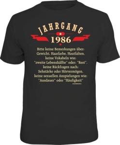 T-Shirt Oldtimer Baujahr 1986 Geburtsjahr Geburtstag Jahrgang Shirt (Größe:: M (46/48))
