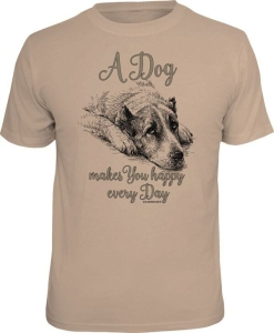 T-Shirt A DOG MAKES YOU HAPPY EVERY DAY (Größe:: M (46/48))