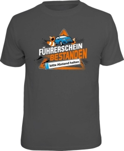 T-Shirt FÜHRERSCHEIN BESTANDEN BITTE ABSTAND HALTEN (Größe:: XXL (56))