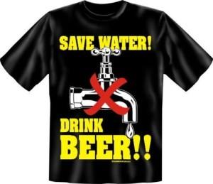 T-Shirt Save Water Drink Beer Bier (Größe:: XL (52/54))