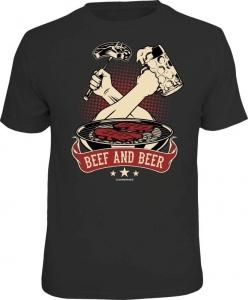 Fun Shirt BEEF AND BEER grillen T-Shirt Spruch Grill (Größe:: L (50/52))