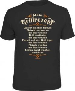 Fun Shirt MEIN GRILLREZEPT grillen T-Shirt Spruch Grill (Größe:: L (50/52))
