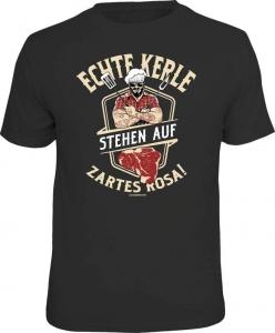 Fun Shirt ECHTE KERLE STEHEN AUF ZARTES ROSA  grillen T-Shirt Grill (Größe:: L (50/52))