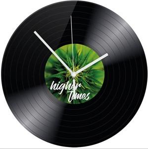 Wanduhr mit Motiv Higher Times Vinyl schwarz  Hanf