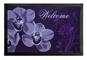 Fußmatte Türvorleger ORCHIDEEN WELCOME LILA Fussmatte Fußabtreter Türmatte Orchidee