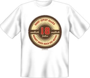 Fun Shirt Endlich 18 wohnt noch bei Mutti T-Shirt Spruch Geschenk (Größe:: S (42/44))