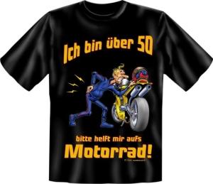 Fun Shirt Ü 50, helft mir auf′s Motorrad T-Shirt Spruch (Größe:: XXL (56))