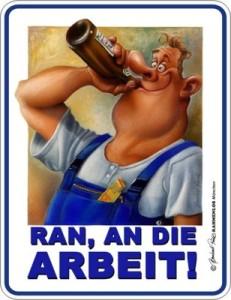 Blechschild Bier Pause HANDWERK Bau Schild FUN Blech