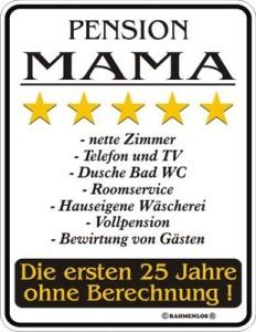 Blechschild Pension Mama Mutter Spruch Schild Blech