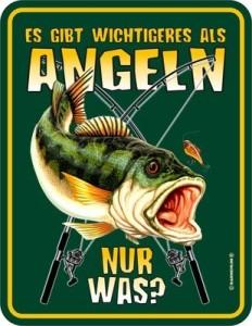 Blechschild Wichtigeres als Angeln Fisch  Angler PETRI HEIL Schild