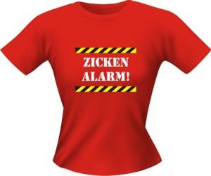 T-Shirt Lady Girlie ZICKEN ALARM PARTY Shirt Spruch witzig Fun (Größe:: L)