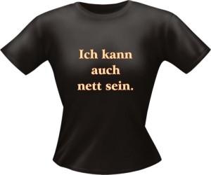 T-Shirt Lady Girlie nett sei PARTY Shirt Spruch witzig Fun (Größe:: L)