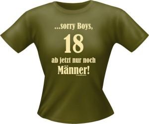 T-Shirt Lady Girlie 18 nur Männer PARTY Shirt Spruch witzig Fun (Größe:: L)