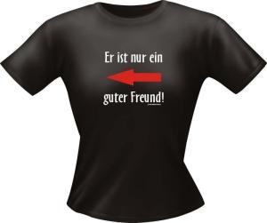 T-Shirt Lady Girlie guter Freund PARTY Shirt Spruch witzig Fun (Größe:: L)