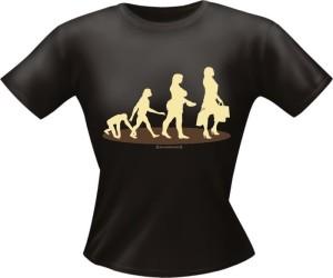 T-Shirt Lady Girlie EVOLUTION FRAU PARTY Shirt Spruch witzig Fun (Größe:: L)