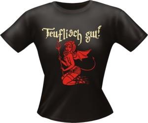T-Shirt Lady Girlie TEUFLISCH GUT PARTY Shirt Spruch witzig Fun (Größe:: L)