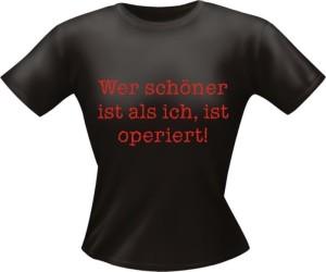 T-Shirt Lady Girlie schön operiert PARTY Shirt Spruch witzig Fun (Größe:: L)