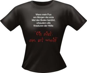 T-Shirt Lady Girlie MORGEN wach  PARTY Shirt Spruch witzig Fun (Größe:: L)