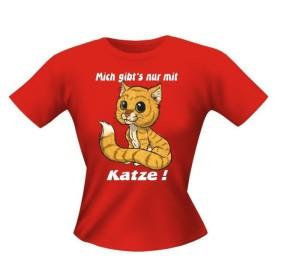 T-Shirt Lady Girlie nur mit Katze PARTY Shirt Spruch witzig Fun (Größe:: S)
