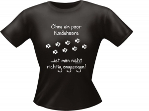 T-Shirt Lady Girlie Hunde Haare PARTY Shirt Spruch witzig Fun (Größe:: S)