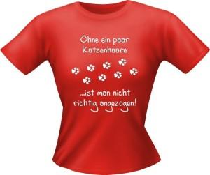 T-Shirt Lady Girlie Katzen Haare PARTY Shirt Spruch witzig Fun (Größe:: S)
