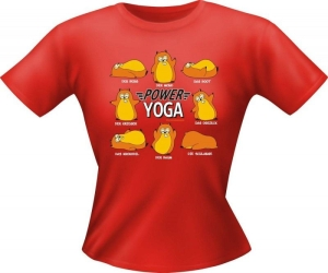 T-Shirt Lady Girlie POWER YOGA PARTY Shirt Spruch witzig Fun (Größe:: S)