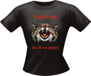 T-Shirt Lady Girlie Katze tut nix PARTY Shirt Spruch witzig Fun (Größe:: S)