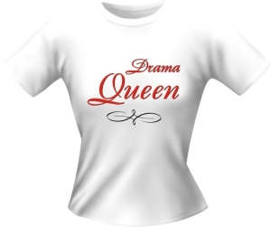T-Shirt Lady Girlie DRAMA QUEEN PARTY Shirt Spruch witzig Fun (Größe:: L)