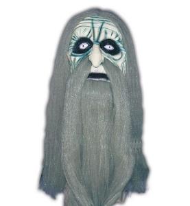 Maske Hexer Magier Halloween Fasching Vollmaske mit Haaren Karneval