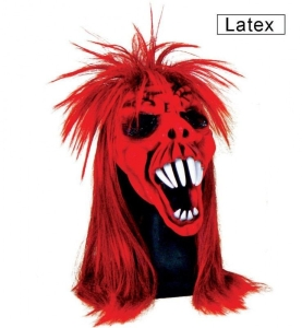 Maske rotes Biest Halloween Fasching Halbmaske mit Haaren Karneval