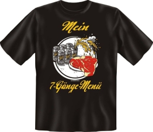 Fun Shirt MEIN 7 GÄNGE MENÜ GRILL grillen T-Shirt Spruch (Größe:: L (50/52))
