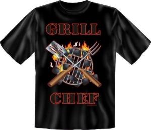 Fun Shirt GRILLCHEF grillen T-Shirt Spruch (Größe:: XL (52/54))