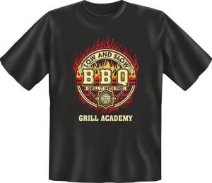 Fun Shirt BBQ GRILL ACADEMY grillen T-Shirt Spruch (Größe:: L (50/52))